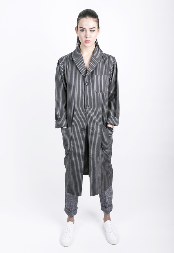 Unisex Tailored Stripe Top Coat