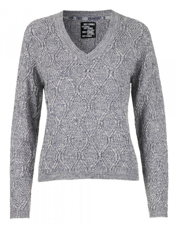 "Just Female ""Ventura"" Knit Deep V Cable Melange Sweater"