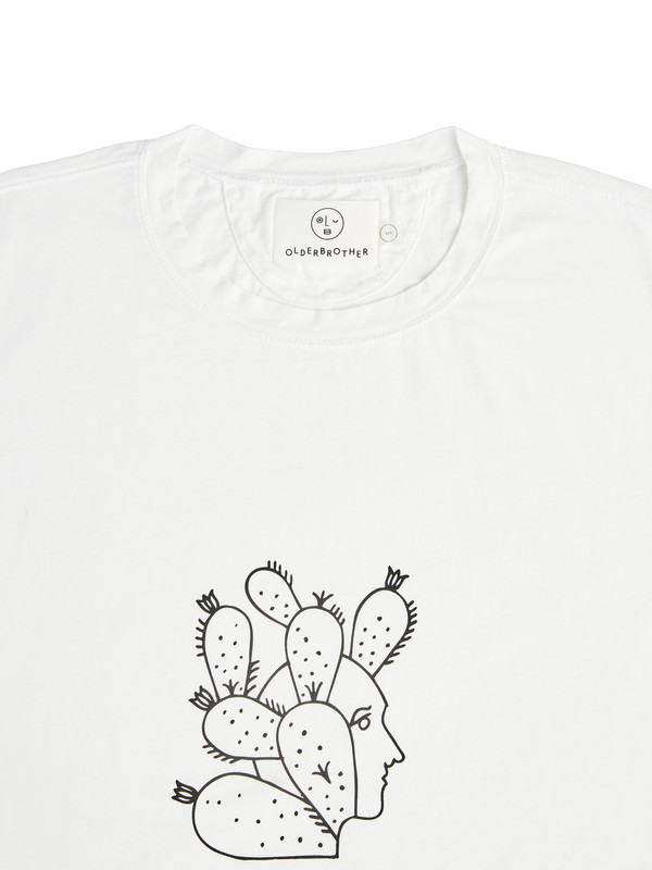 Olderbrother Strange Plants II x David Schiesser Tee - Face- White