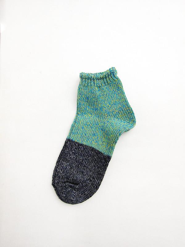 Unisex Kapital Yarn Linen Two Tone Crew Socks, Turquoise