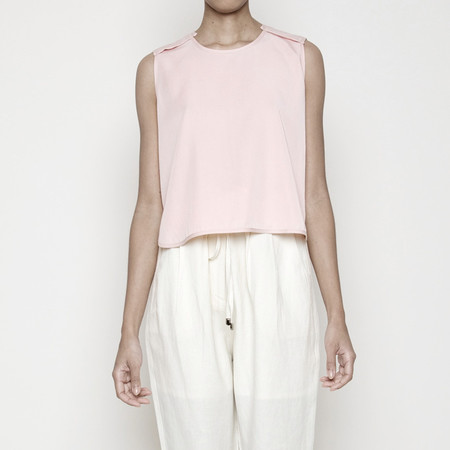 7115 by Szeki Crew Neck Cropped Top- Blush SS16
