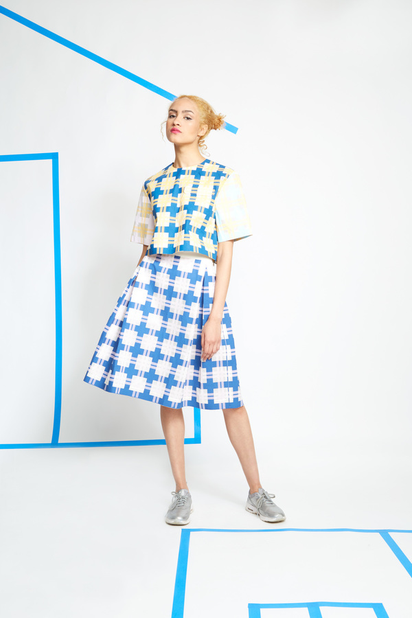 Steven Tai Silk Screened Box Pleat Skirt