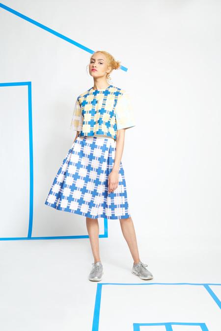 Steven Tai Silk Screened Box Pleat Skirt