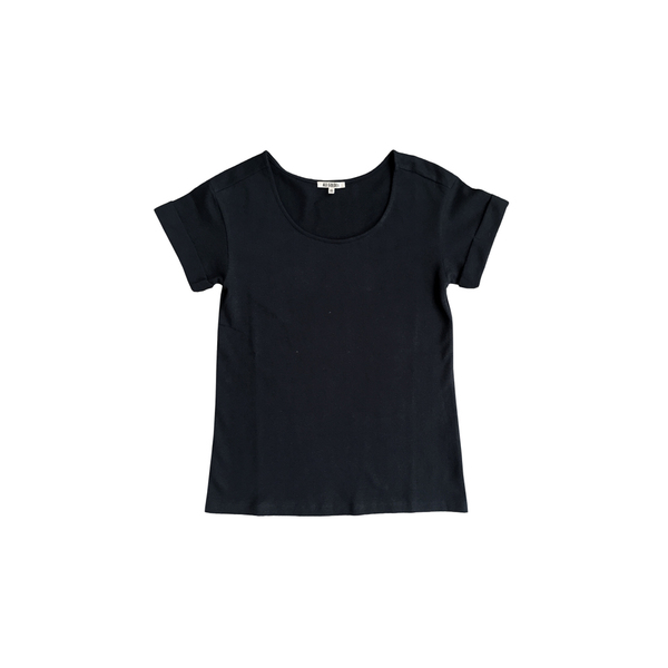 Ali Golden ROLL-SLEEVE T-SHIRT - BLACK
