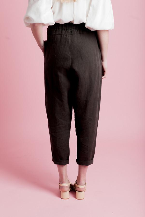 BLACK CRANE LINEN CARPENTER PANTS