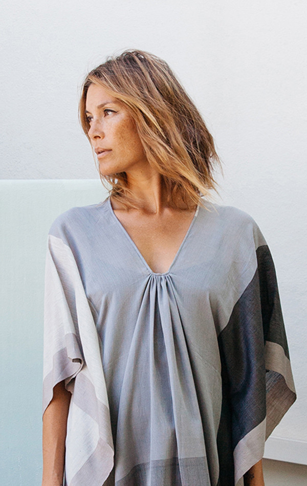 Two New York Gray color block caftan - fabric collaboration with sari designer Anavila
