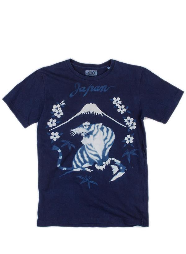 """Men's Blue Blue Japan Knitted Indigo """"Bassen"""" Sakura-Mt. Fuji-Tiger Print Tee"""