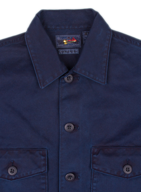 Men's Blue Blue Japan Woven Indigo Hand Dyed Cotton Satin 2 Pocket LS Shirt