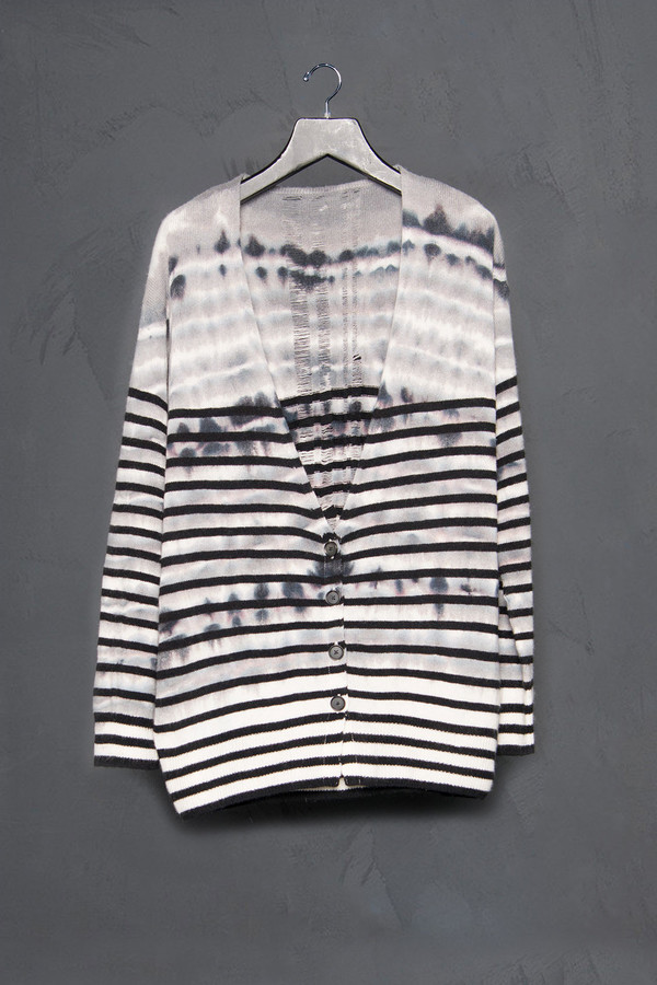 Raquel Allegra Shredded Back Tie Dye Cardigan