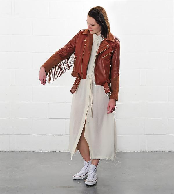 Ganni Moss Leather/Suede Fringe Jacket