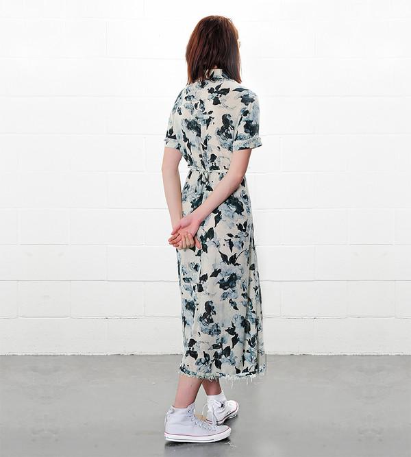 Raquel Allegra Natural Floral Button Up Dress Print
