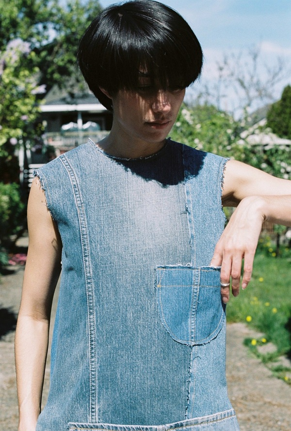 Assembly Shift Dress - denim patchwork