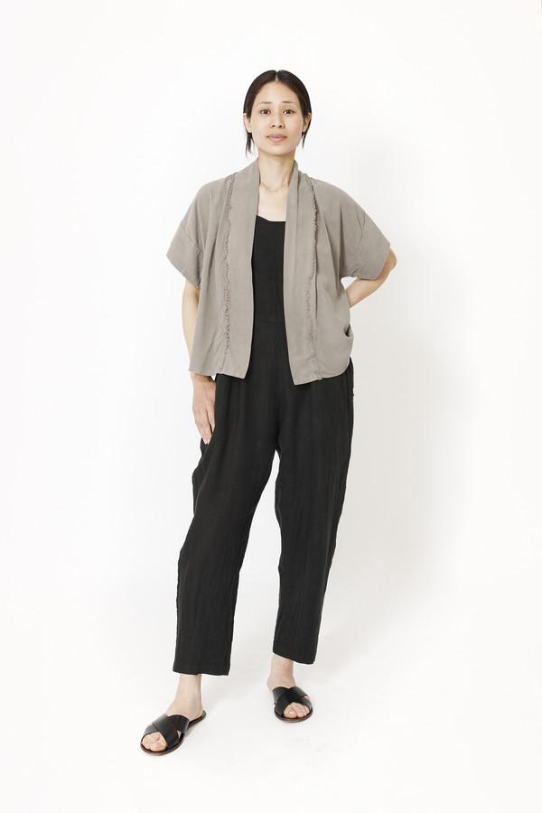 Black Crane Kimono Jacket (Grey)
