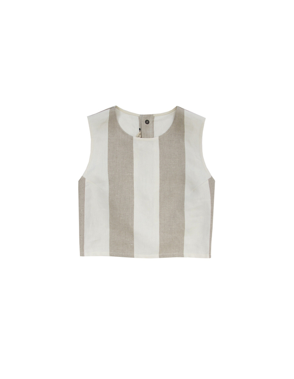 Ali Golden Cream and Oatmeal Linen Tank
