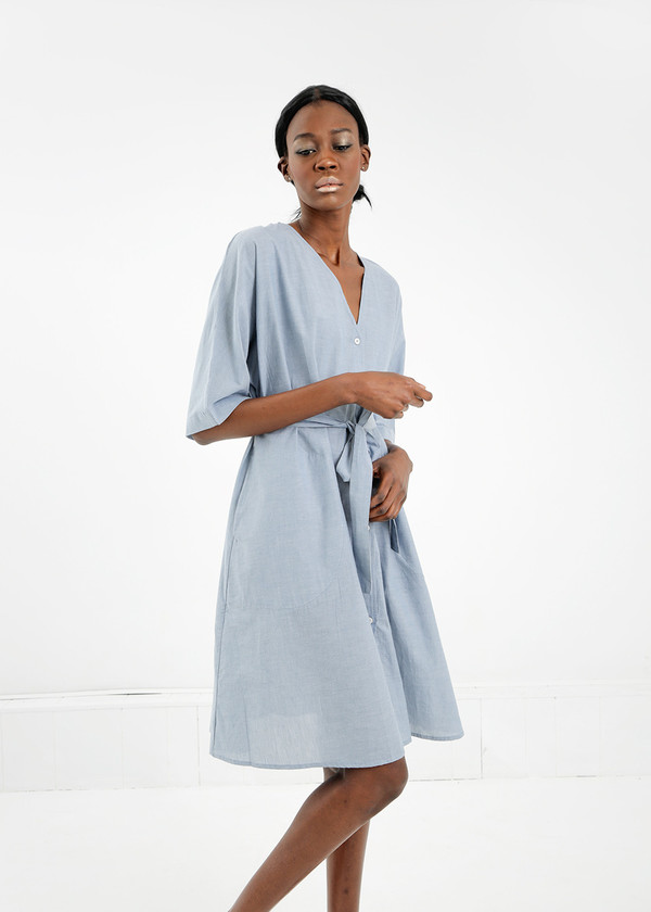 Kowtow Domus Shirt Dress in Chambray