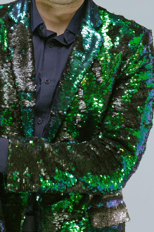 Any Old Iron Peacock Sequin Blazer