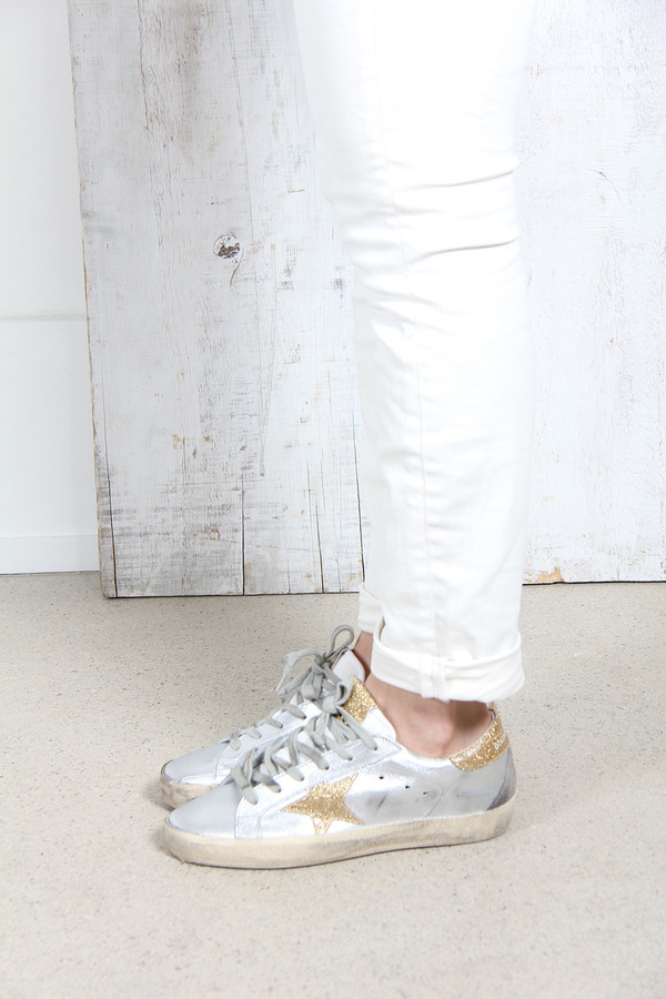 Golden Goose Superstar Sneakers in Leather with Leather Star