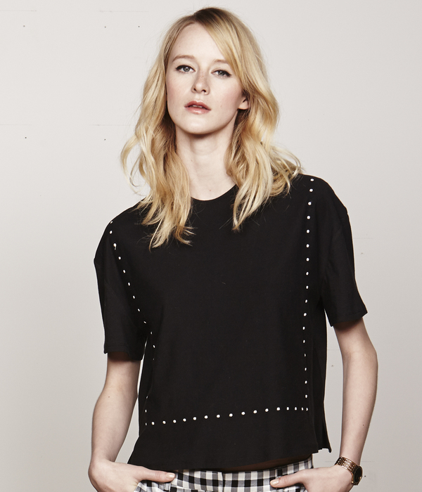 Nikki Chasin Embroidered Dot Frame Tee