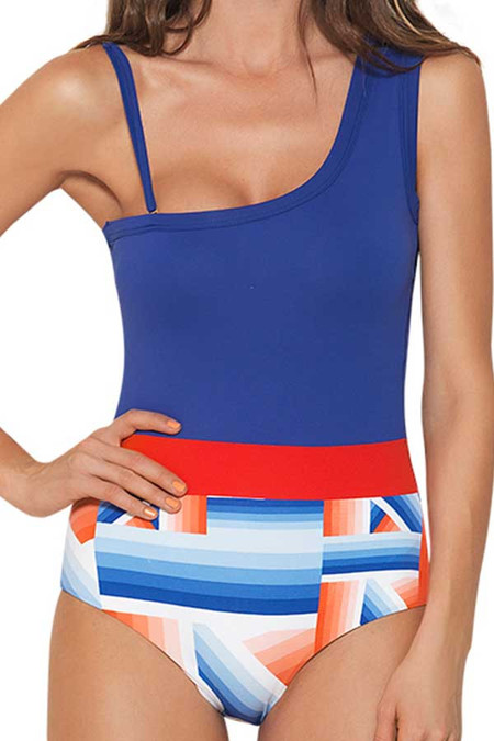 Estivo One Shoulder Blue White and Red