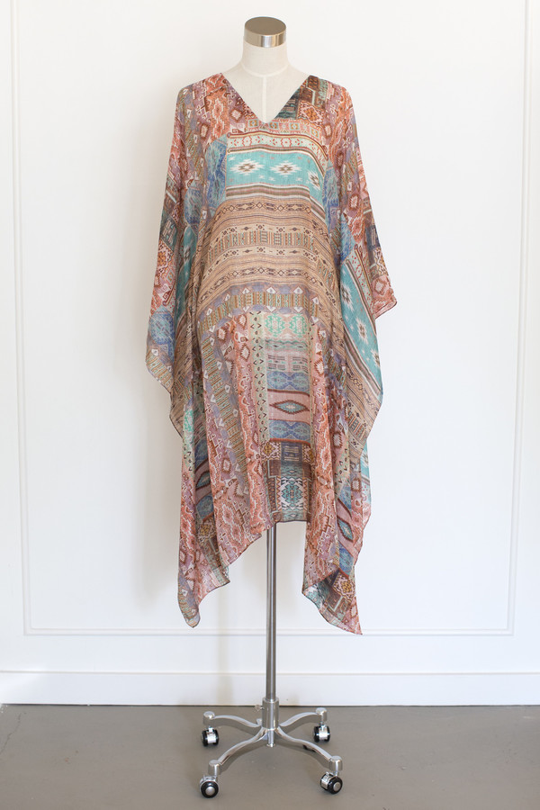 Salua Atelier Cotton/Silk Multi Colored Kaftan