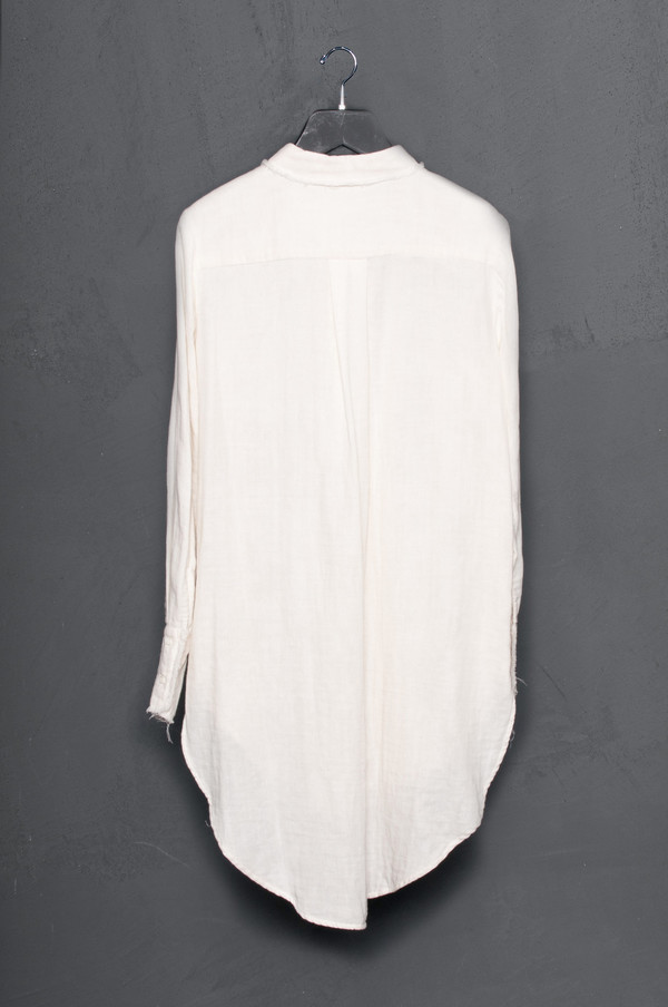 Raw Edge Crinkled Cotton Button Up