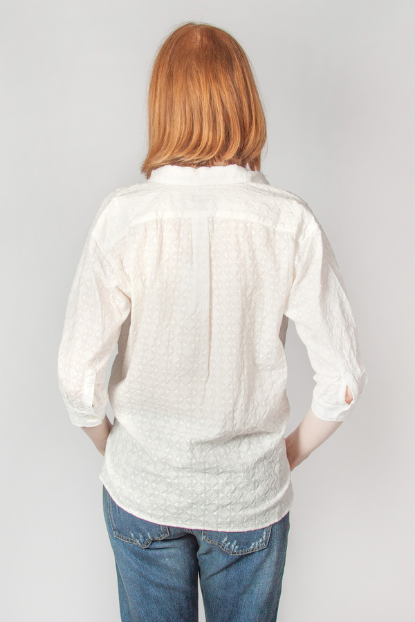 Steven Alan Cross Over Shirt Geo Embroidery White