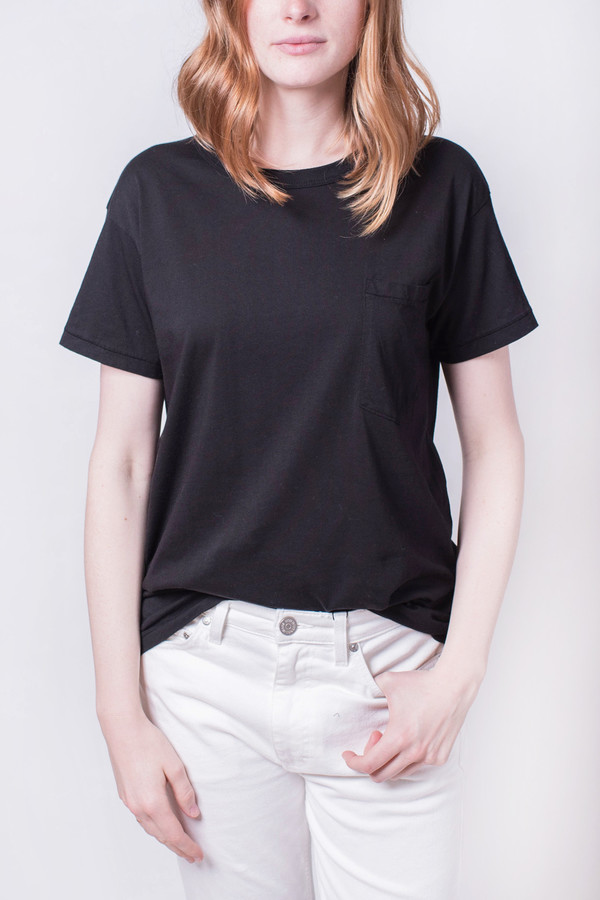 Calder Jaq Knit Pocket Tee Black