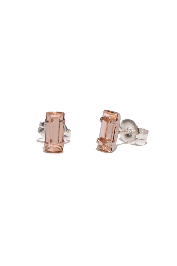Bing Bang NYC Tiny Baguette Studs Rose Gold