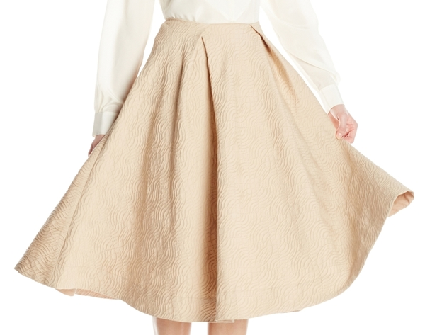 Vincetta Embossed Camel Cotton Circle Skirt
