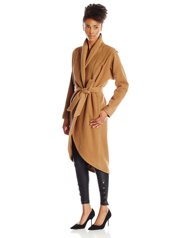 Vincetta Camel Shawl Collar Coat