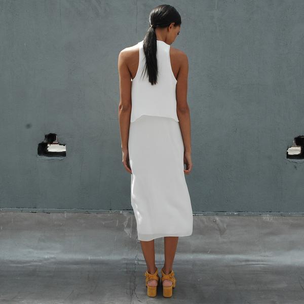 Nikki Chasin Badger Storm Flap Tank Dress - White