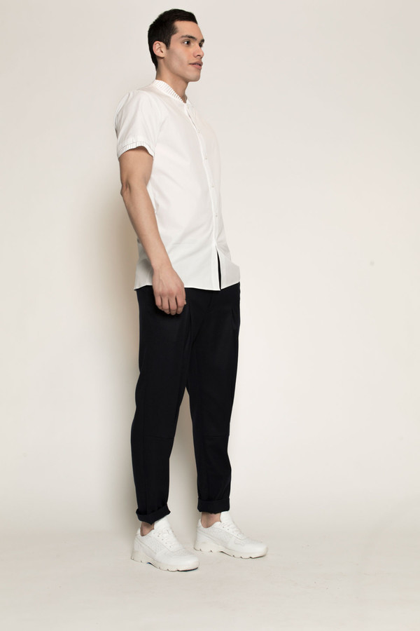 Men's Kenneth Ning Pleated Grosgrain Rib Baseball Shirt in White
