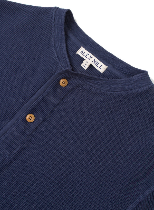 Men's Alex Mill Crew Neck Waffle Henley Navy