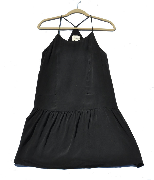 The Korner Silk Slip Dress with Gathered Skirt