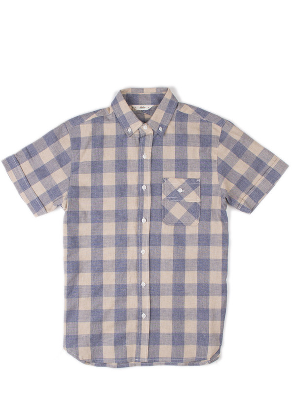 Men's 3Sixteen SS Workshirt Blue Mock Twist