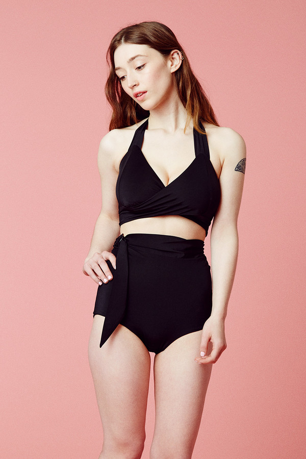 Samantha Pleet Whirl Bikini Bottom - Black