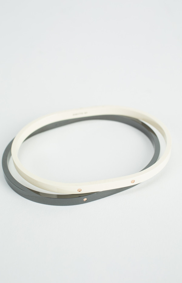 Ginette NY Ivory Ceramic and Gold TV Bangle
