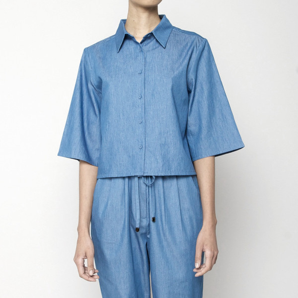 7115 by Szeki Back Pleated Button Up- Indigo SS16