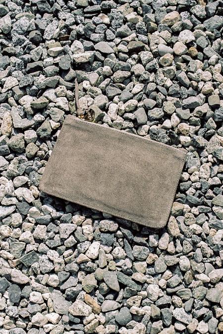 Clare V. Margot 2Tone Wallet Clutch - Cuoio Vachetta / Grey Suede