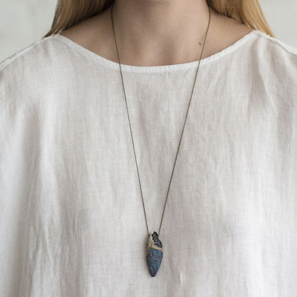 Adina Mills Peacock Pyrite on a Brass Chain Necklace - SOLD OUT
