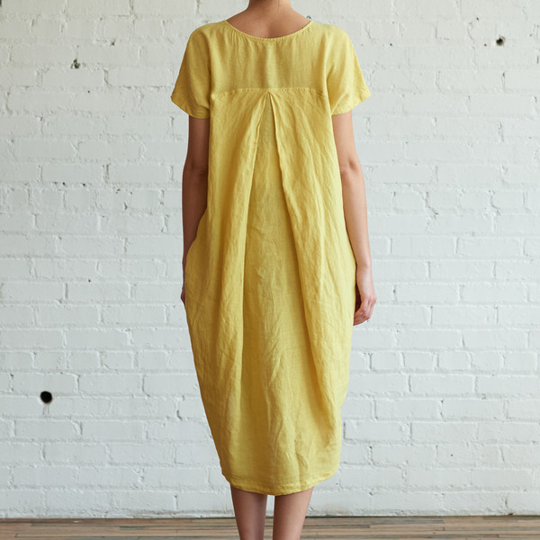Black Crane Pleated Cocoon Dress Lemon - SOLD OUT