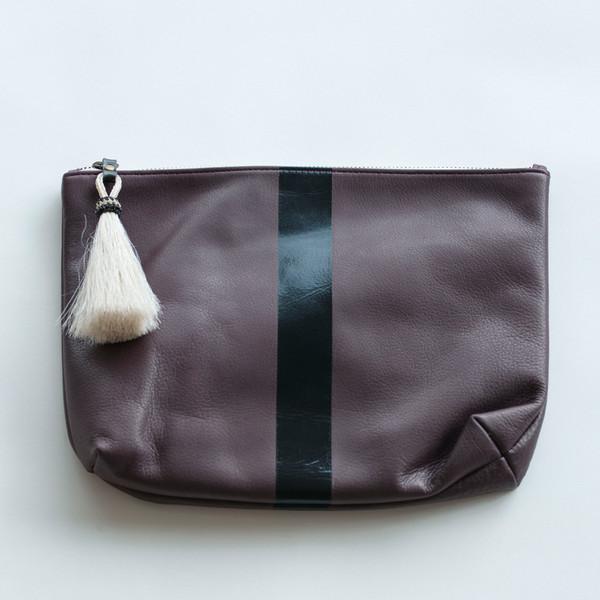 Kempton & Co Black Stripe Tassel Pouch Oxblood