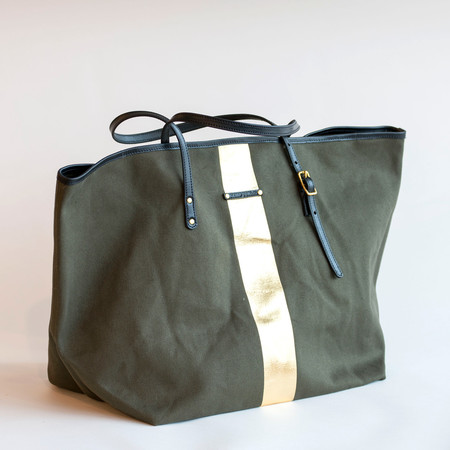 Kempton & Co Gold Striped Beach Tote Olive/Gold