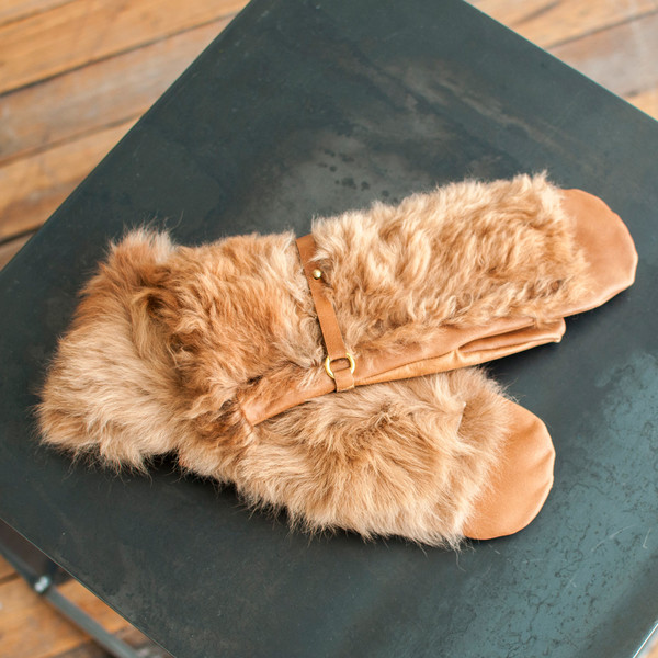 Rachel Comey Fur Mittens Camel - SOLD OUT