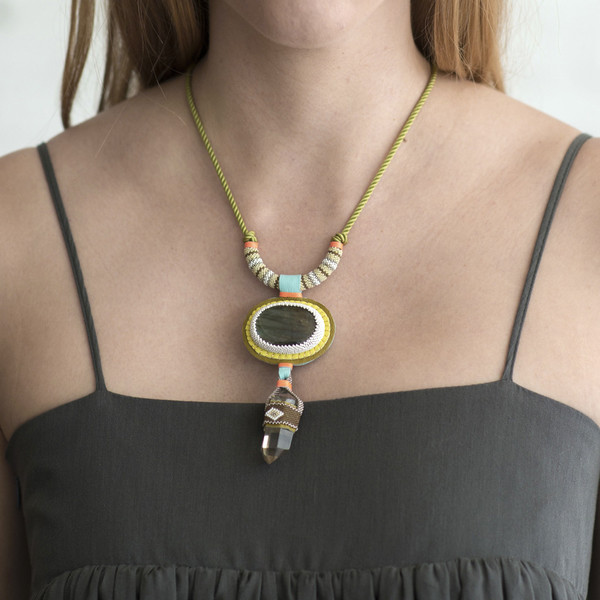 Robin Mollicone Labradorite Necklace with Smokey Quartz Drop - SOLD OUT