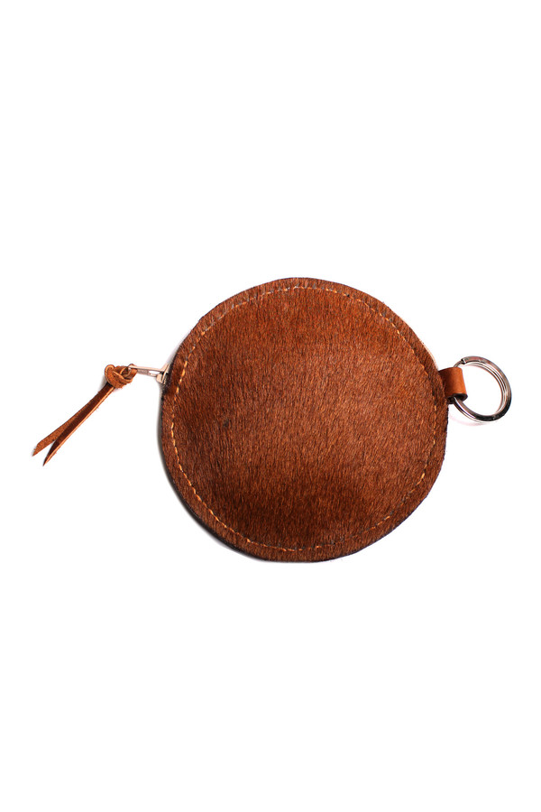 Minnie + George Circle Coin Purse in Brown Calf Hair