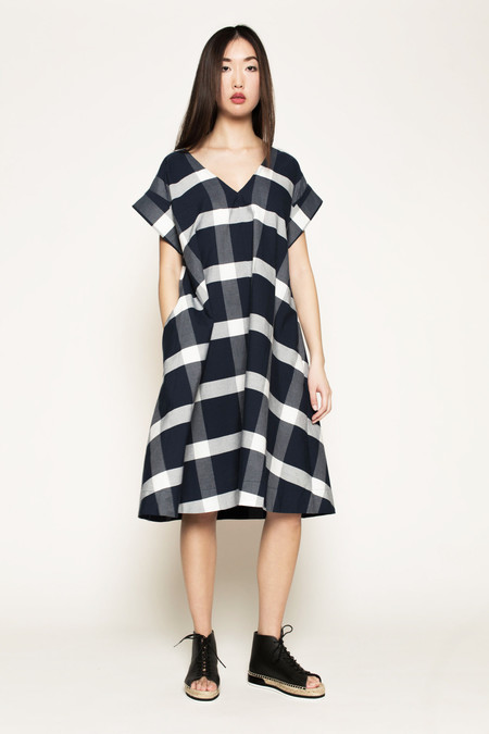 Kowtow Two of a Kind Dress in Navy/White Checks