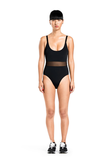 BETH RICHARDS Agnes One Piece - Black FEMININE ONE PIECE WITH MESH WAIST AND ADJUSTABLE STRAP
