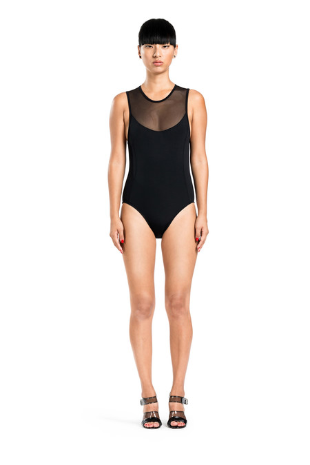 BETH RICHARDS Bardot One Piece - Black SIGNATURE MESH TOP ONE PIECE WITH OPEN BACK