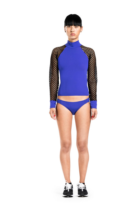 BETH RICHARDS Cara Top - Berry MOCK NECK RASH GUARD TOP WITH MESH SLEEVES